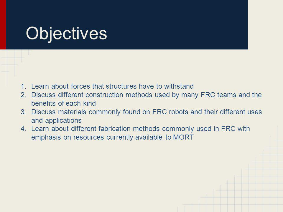 Objectives Learn about forces that structures have to withstand