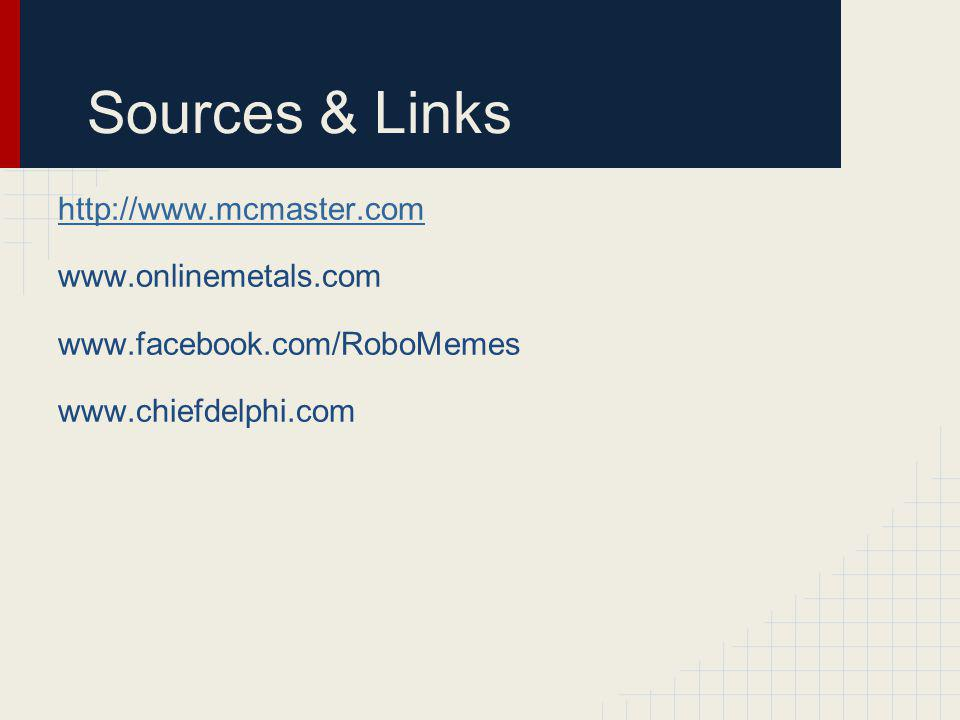 Sources & Links http://www.mcmaster.com www.onlinemetals.com