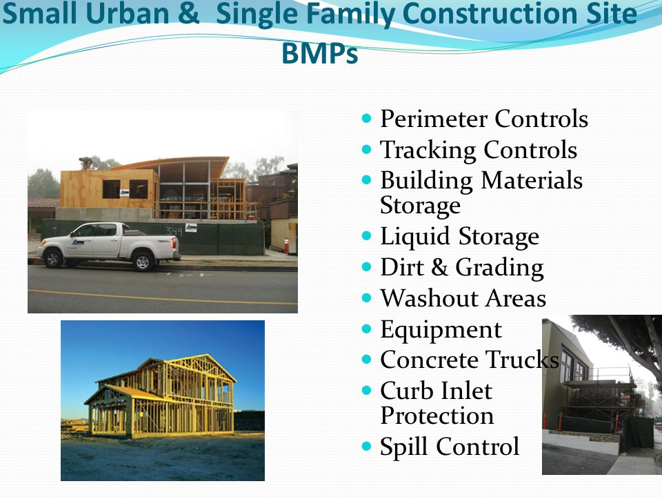 Small Urban & Single Family Construction Site BMPs