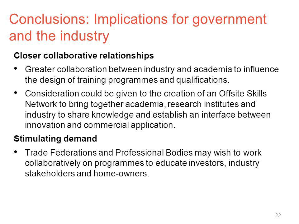 Conclusions: Implications for government and the industry