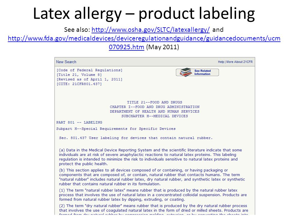 Latex allergy – product labeling