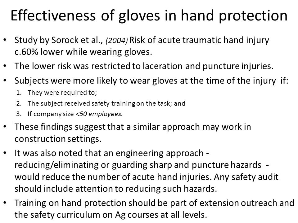 Effectiveness of gloves in hand protection