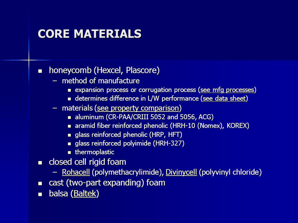 CORE MATERIALS honeycomb (Hexcel, Plascore) closed cell rigid foam