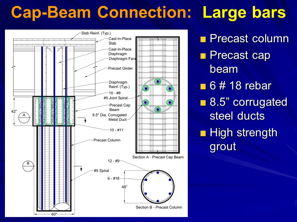 Cap-Beam Connection: Large bars