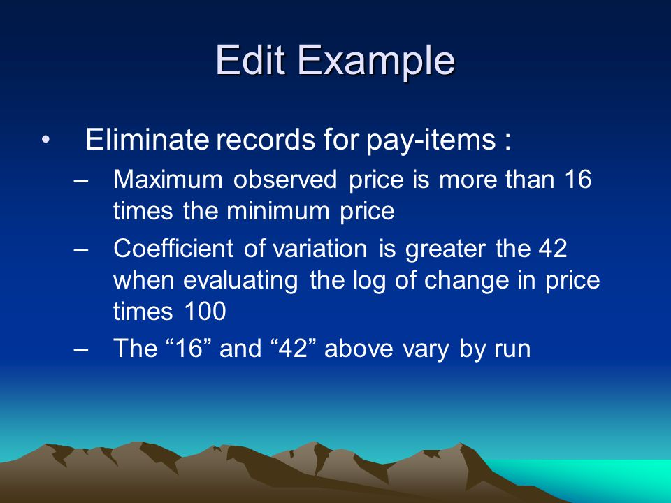 Edit Example Eliminate records for pay-items :