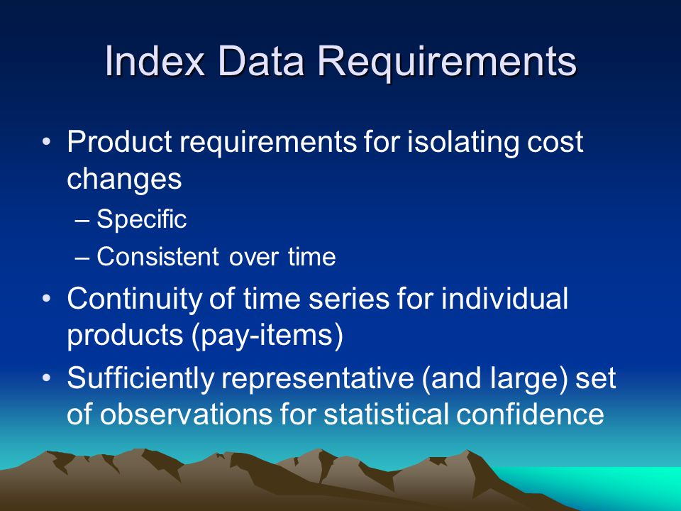 Index Data Requirements