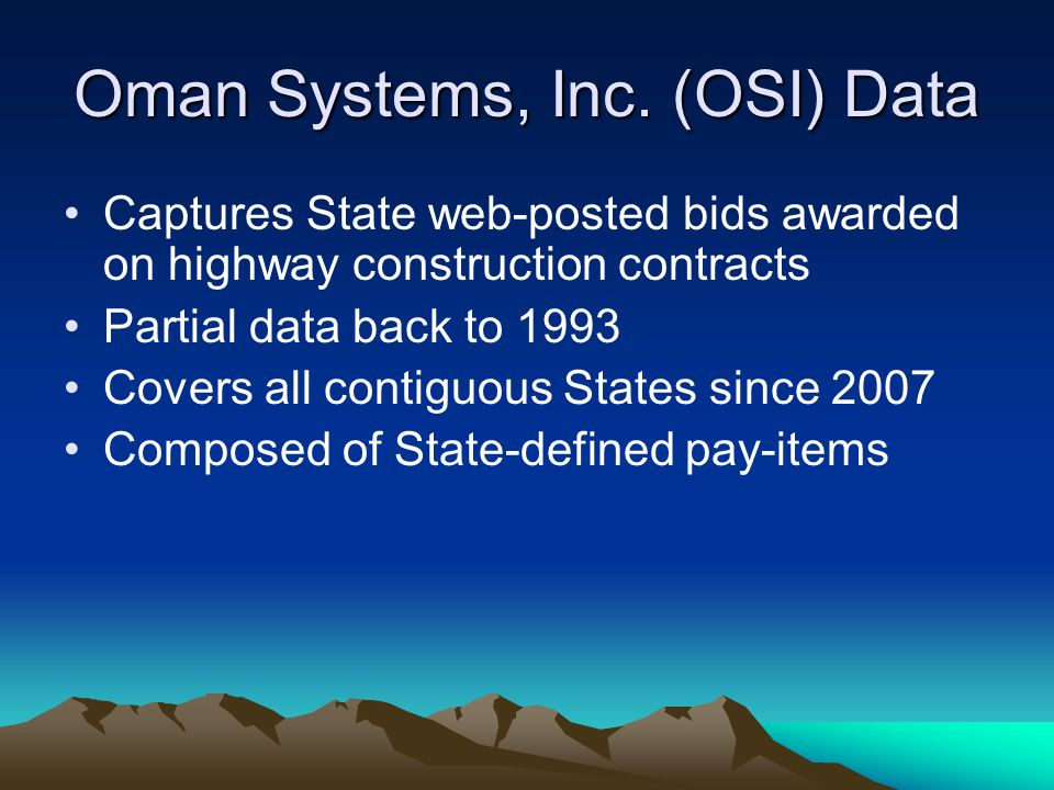 Oman Systems, Inc. (OSI) Data
