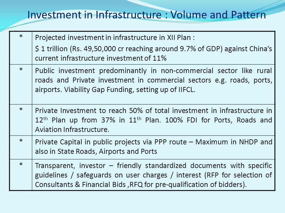 Investment in Infrastructure : Volume and Pattern