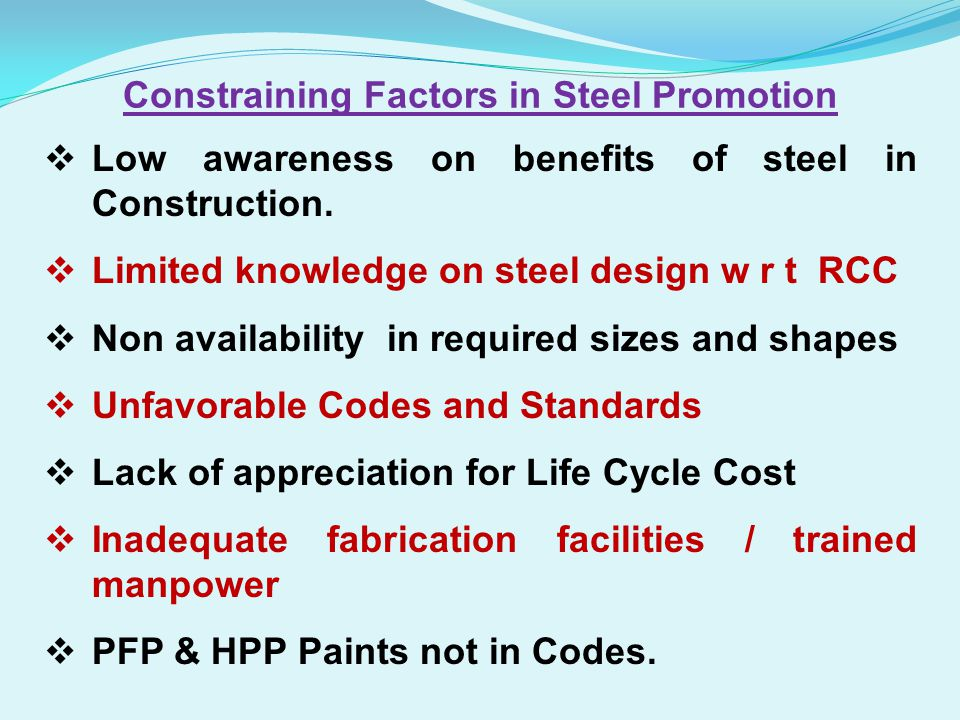 Constraining Factors in Steel Promotion