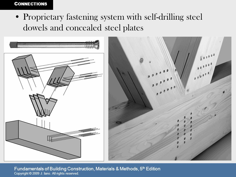 CONNECTIONS Proprietary fastening system with self-drilling steel dowels and concealed steel plates.