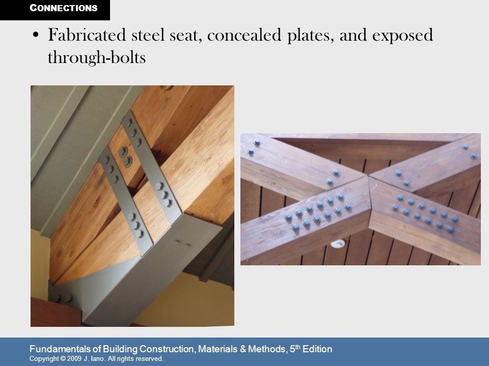 Fabricated steel seat, concealed plates, and exposed through-bolts