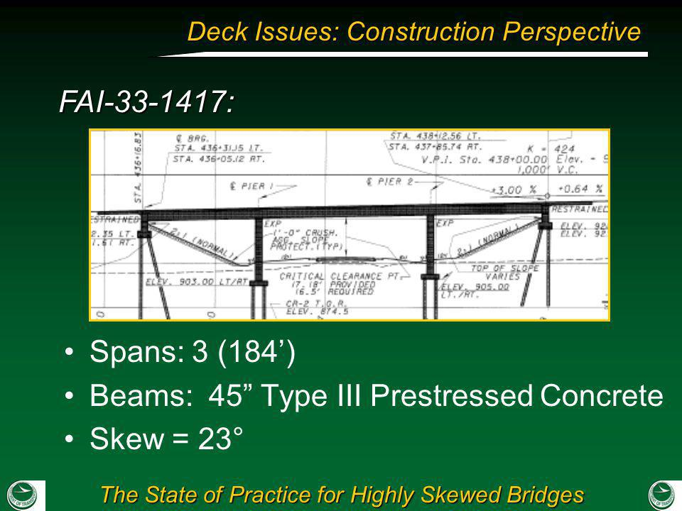 Beams: 45 Type III Prestressed Concrete Skew = 23°