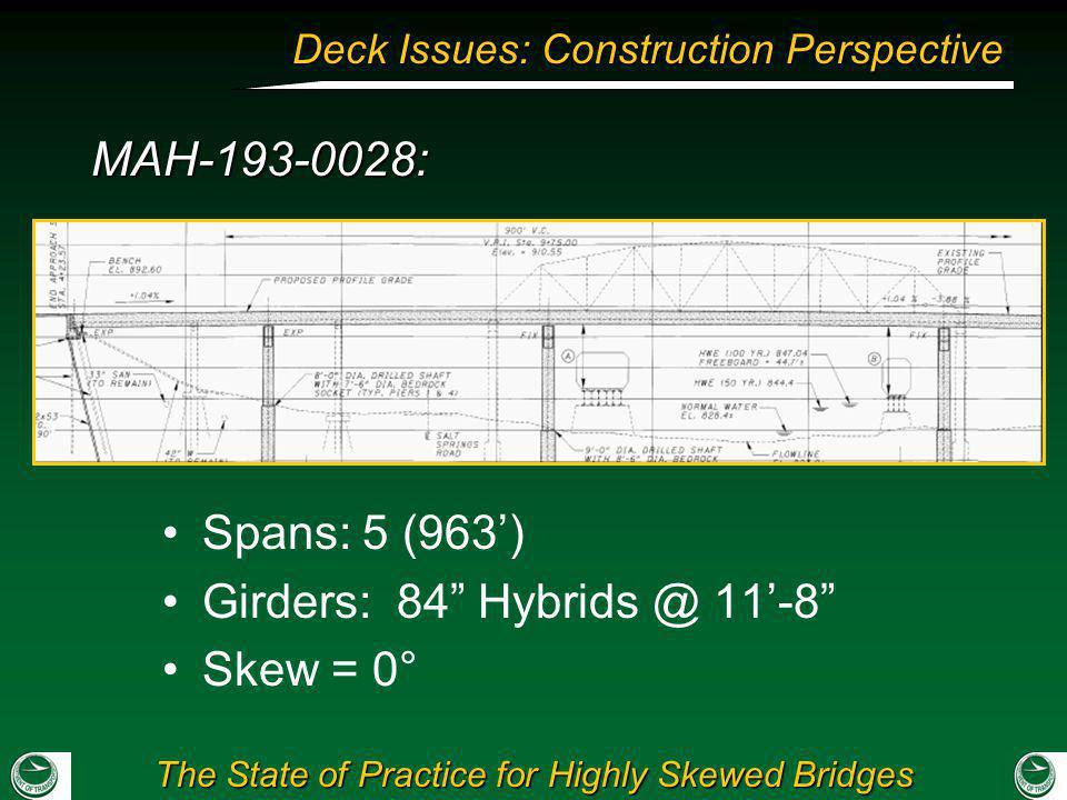 Girders: 84 Hybrids @ 11'-8 Skew = 0°