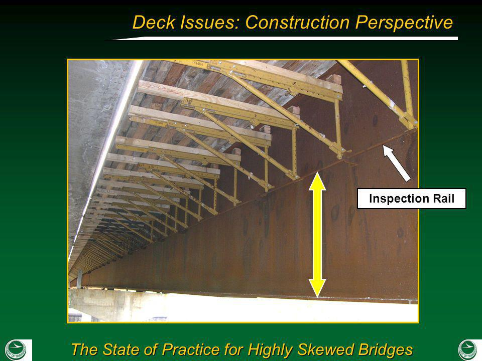 Standard brackets could not be brought down low due to inspection rail.