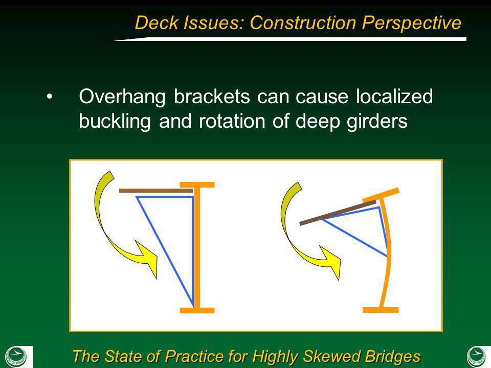 Overhang brackets can cause localized buckling and rotation of deep girders