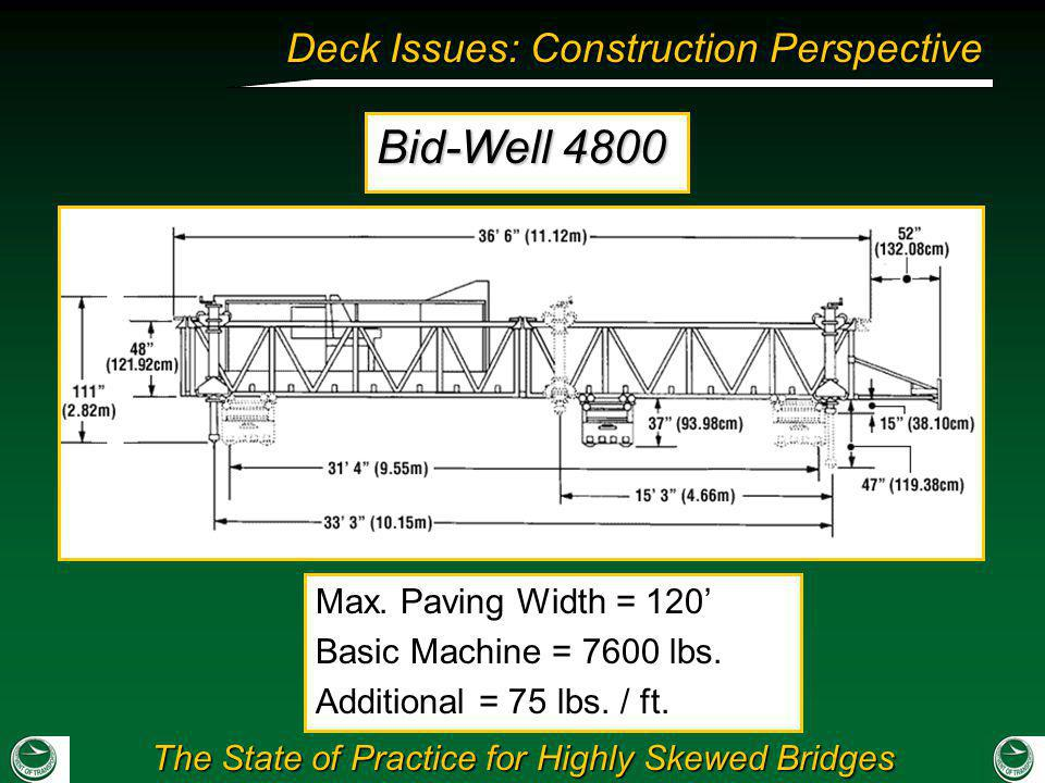 Bid-Well 4800 Max. Paving Width = 120' Basic Machine = 7600 lbs.