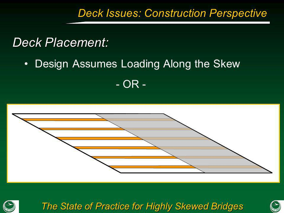 Deck Placement: Design Assumes Loading Along the Skew - OR -