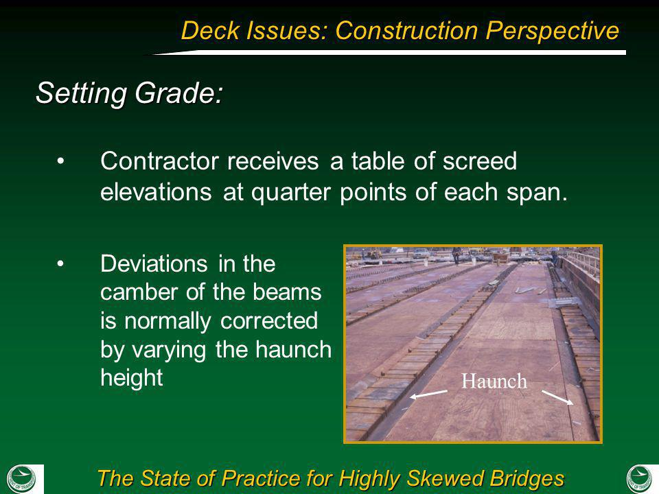 Setting Grade: Contractor receives a table of screed elevations at quarter points of each span.