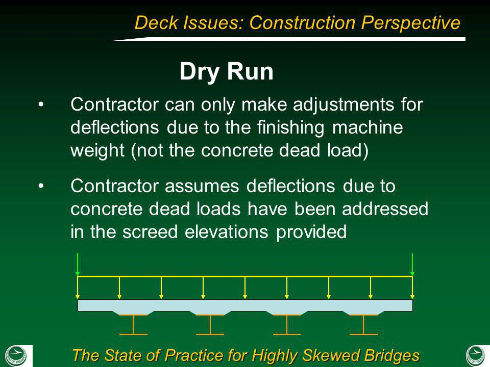 Dry Run Contractor can only make adjustments for deflections due to the finishing machine weight (not the concrete dead load)