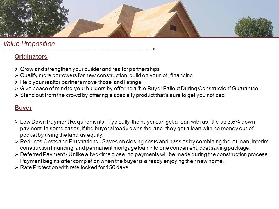 Construction to perm financing ppt download for How to get a construction loan to build a house
