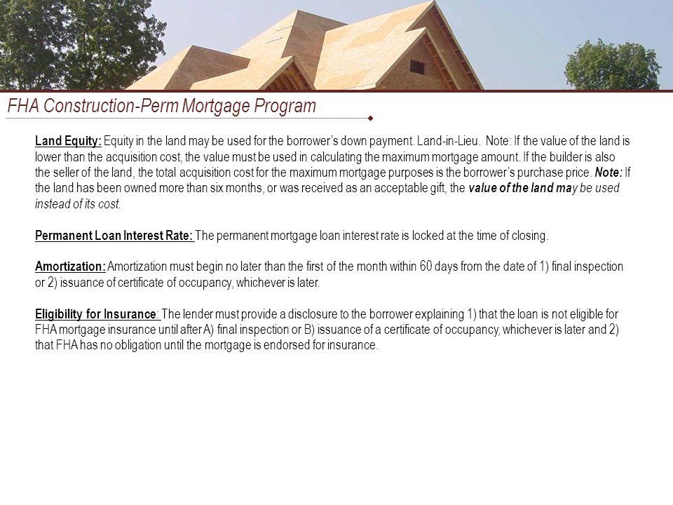 FHA Construction-Perm Mortgage Program