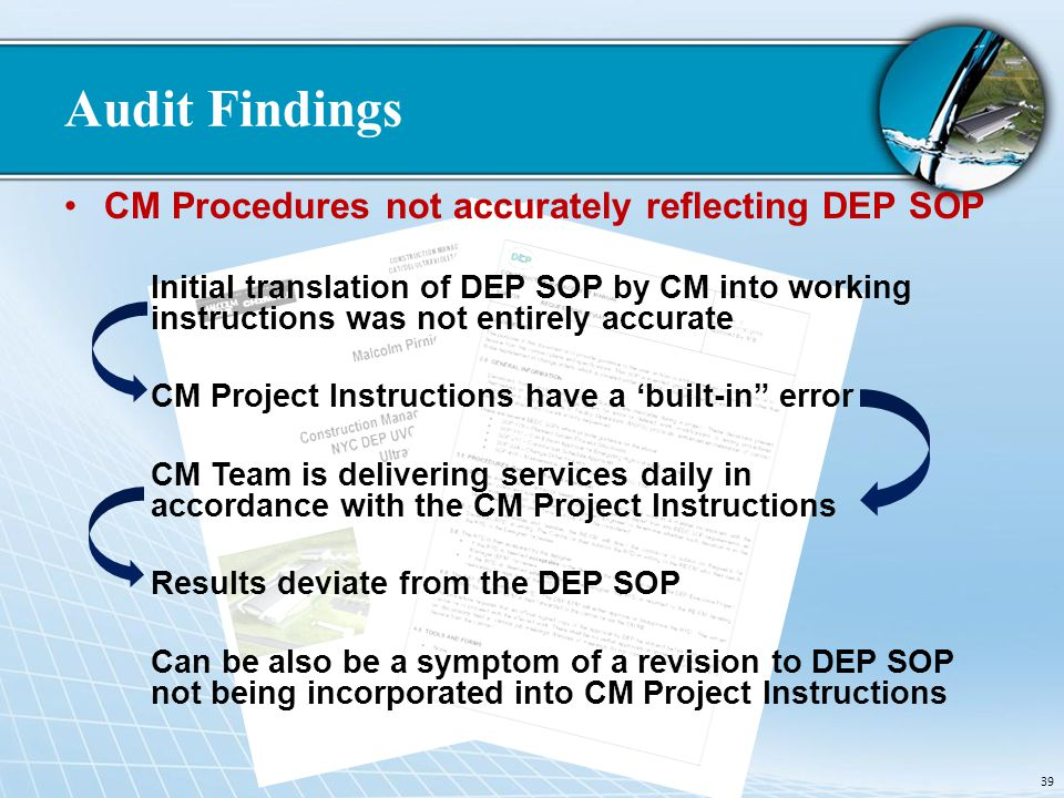 Audit Findings CM Procedures not accurately reflecting DEP SOP