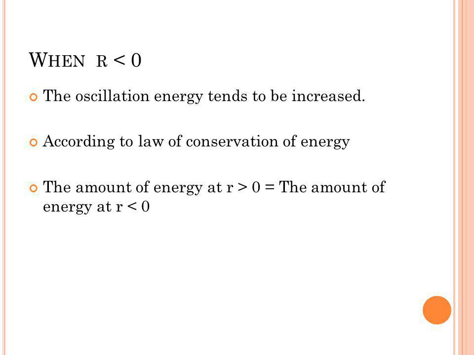 When r < 0 The oscillation energy tends to be increased.