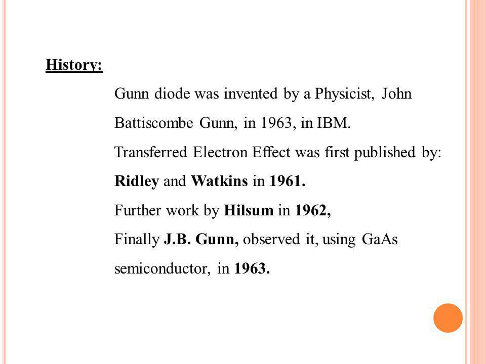 History: Gunn diode was invented by a Physicist, John. Battiscombe Gunn, in 1963, in IBM. Transferred Electron Effect was first published by: