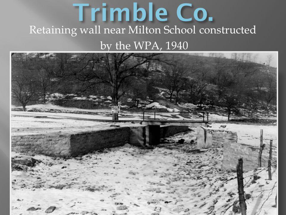 Retaining wall near Milton School constructed