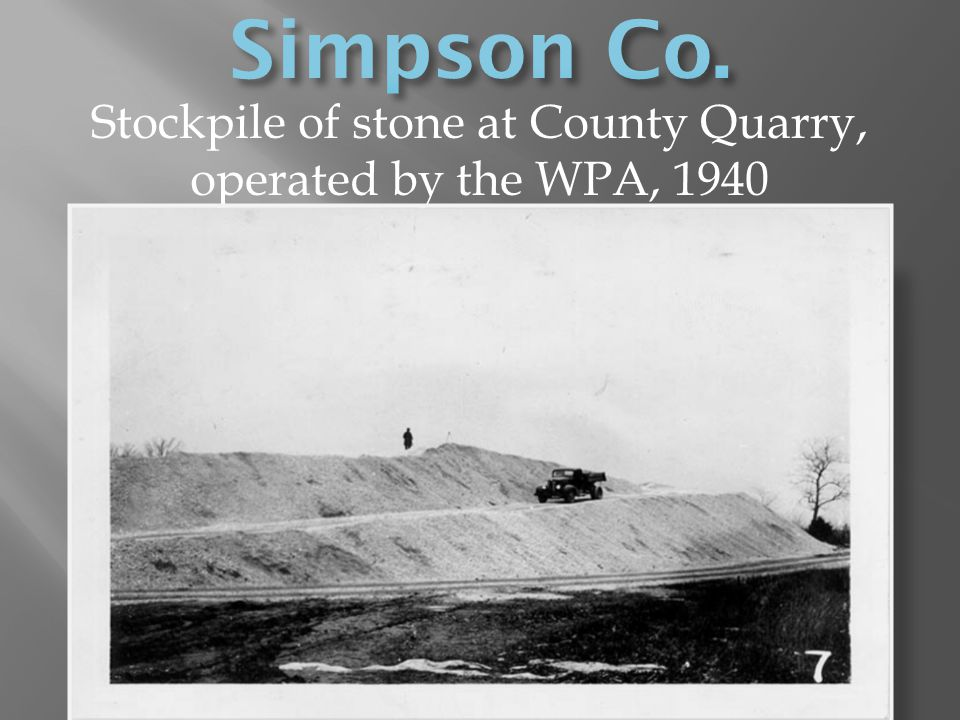 Stockpile of stone at County Quarry, operated by the WPA, 1940