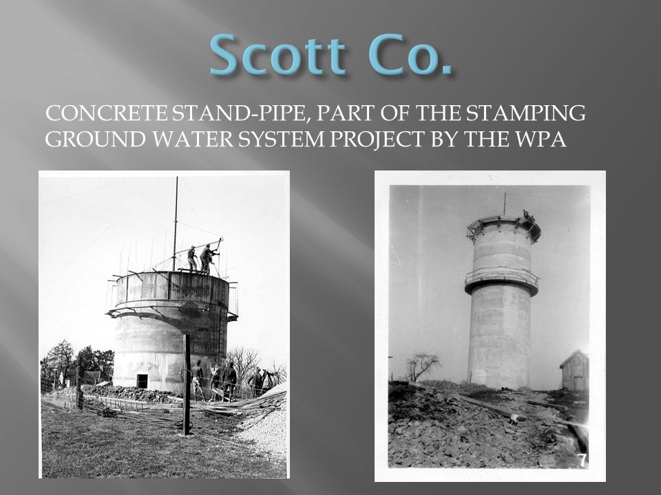 Scott Co. Concrete stand-pipe, part of the stamping Ground water system project by the wpa
