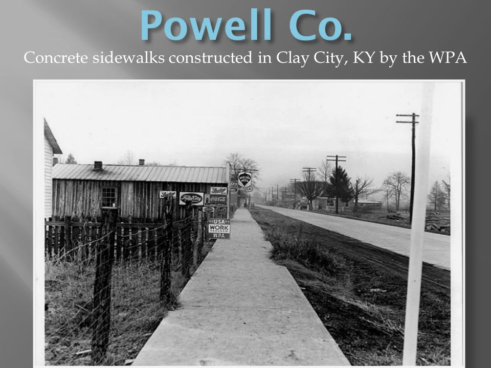 Concrete sidewalks constructed in Clay City, KY by the WPA