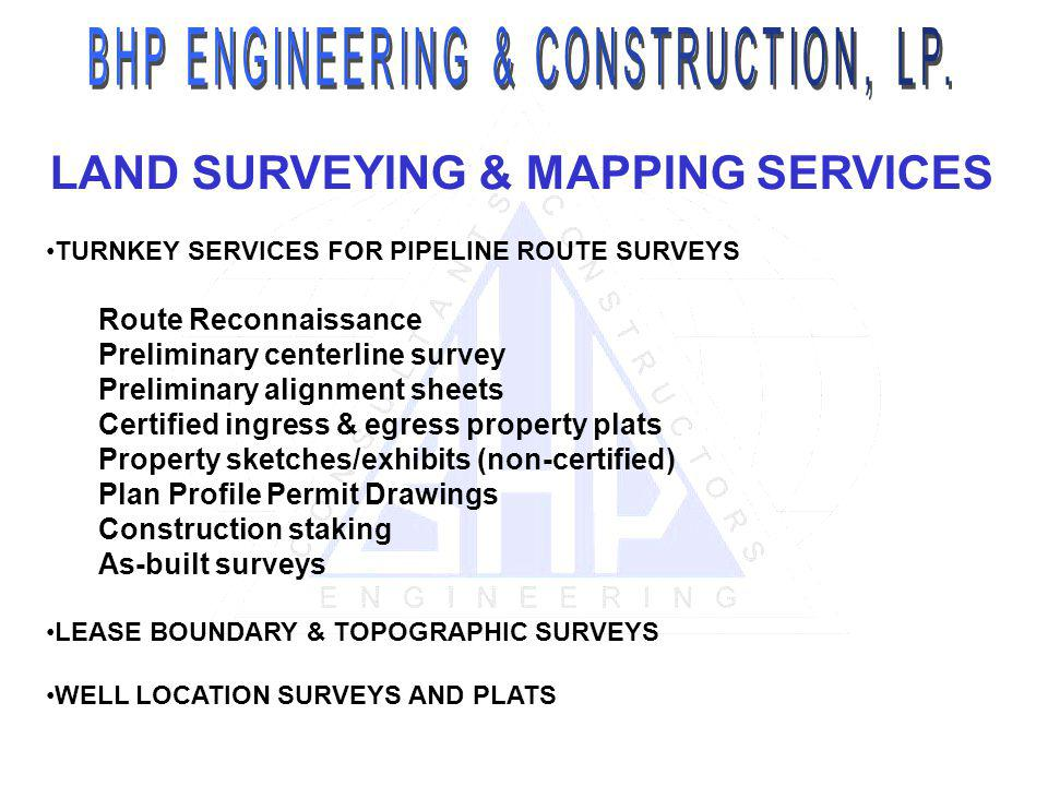 LAND SURVEYING & MAPPING SERVICES