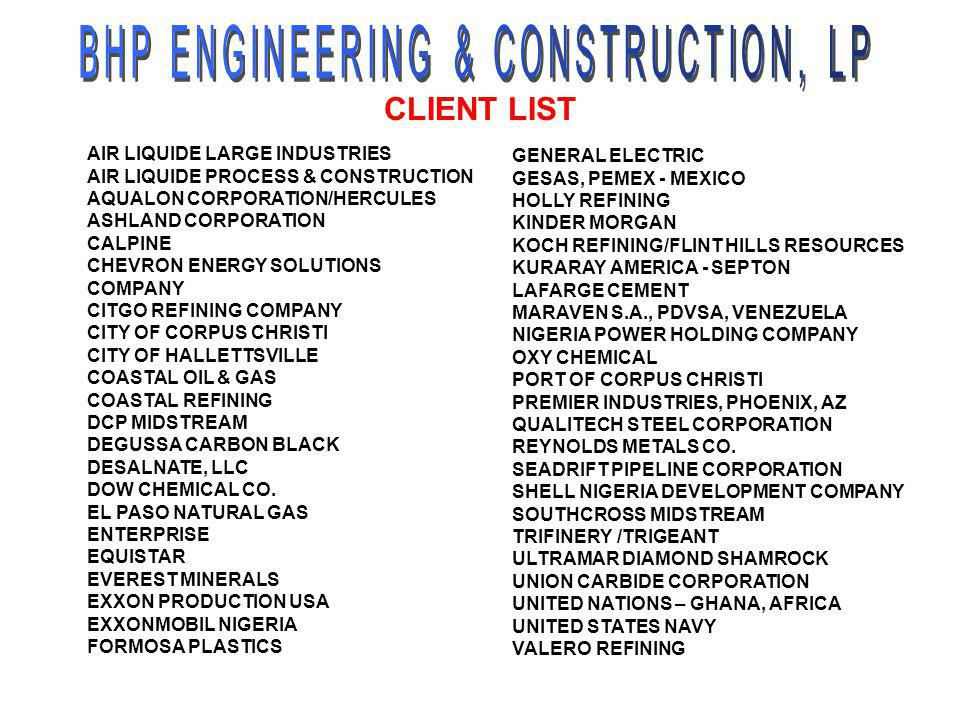 BHP ENGINEERING & CONSTRUCTION, LP