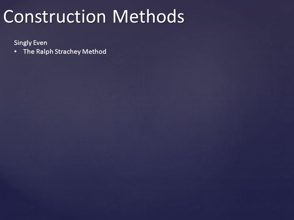 Construction Methods Singly Even The Ralph Strachey Method