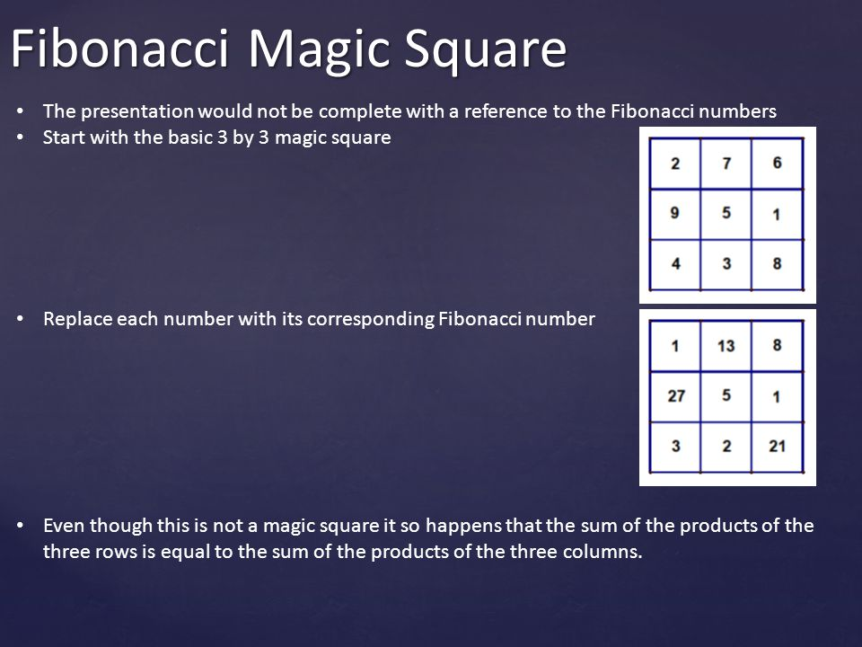 Fibonacci Magic Square