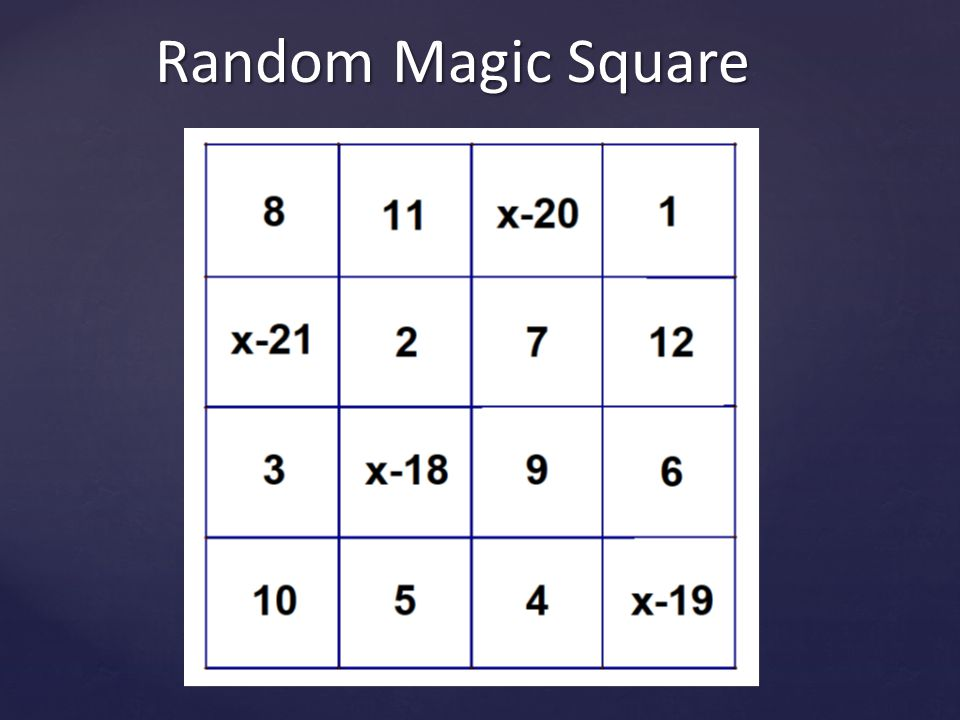 Random Magic Square