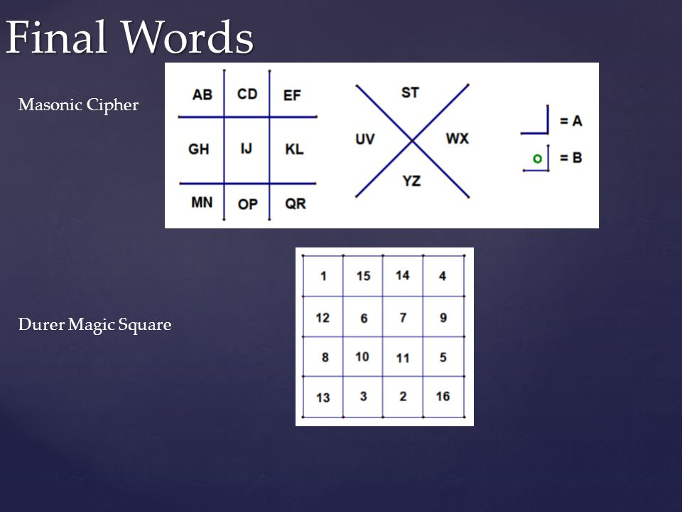 Final Words Masonic Cipher Durer Magic Square