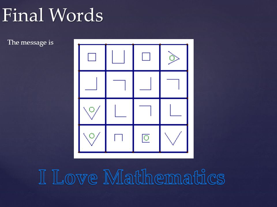 Final Words The message is I Love Mathematics