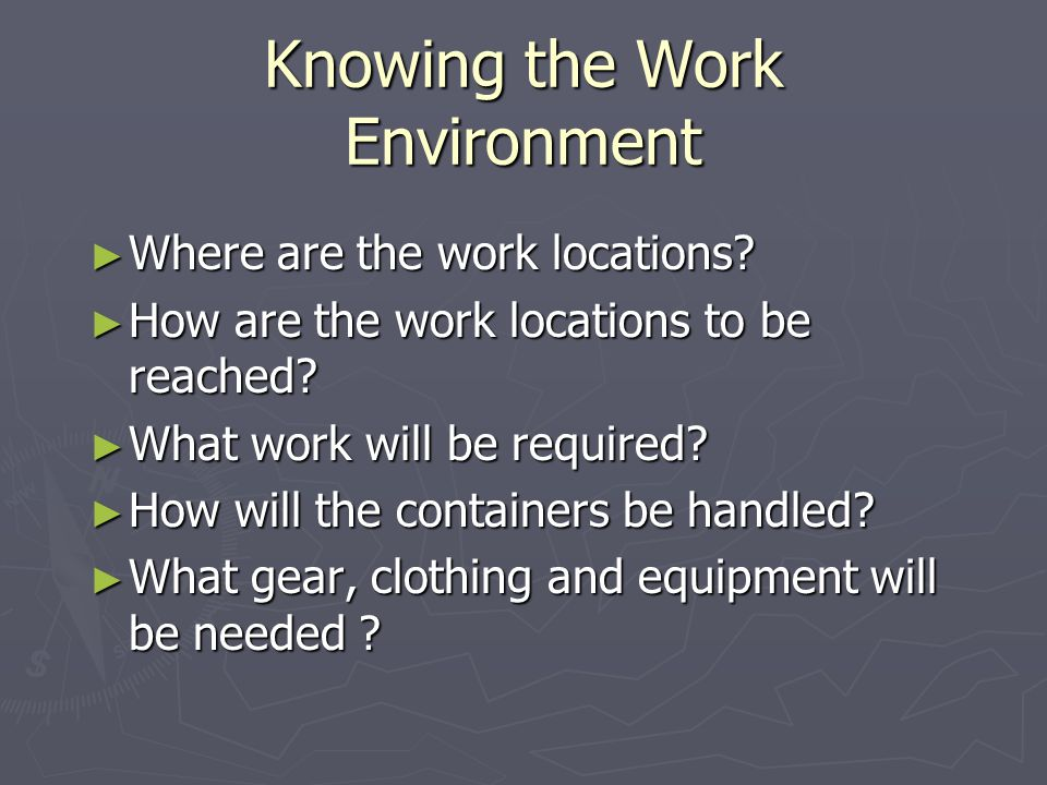 Knowing the Work Environment