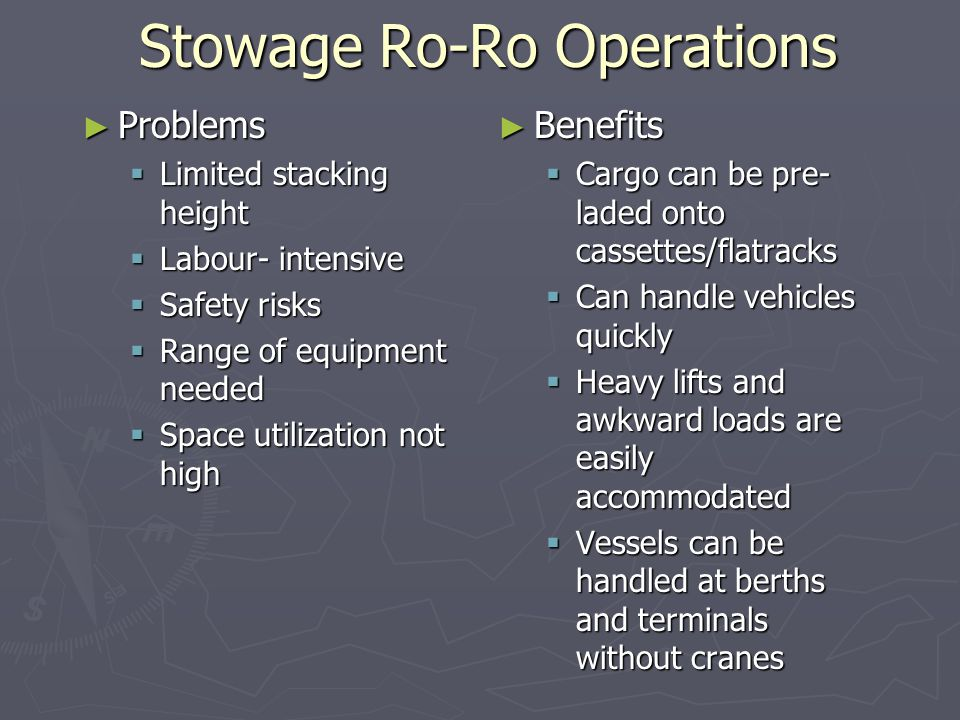Stowage Ro-Ro Operations