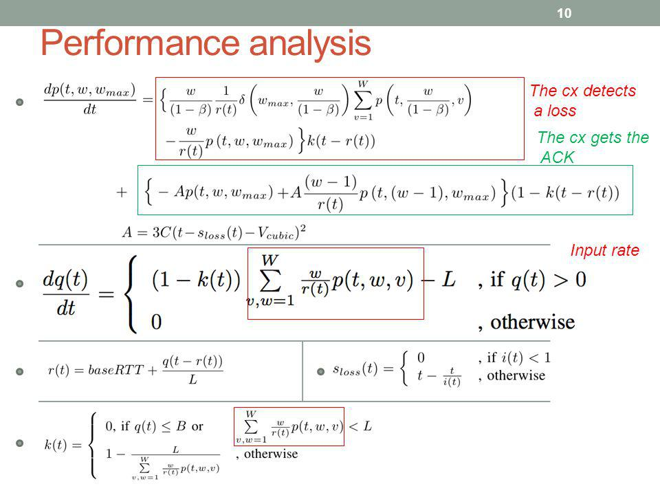 Performance analysis The cx detects a loss The cx gets the ACK
