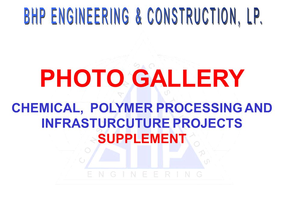 CHEMICAL, POLYMER PROCESSING AND INFRASTURCUTURE PROJECTS SUPPLEMENT
