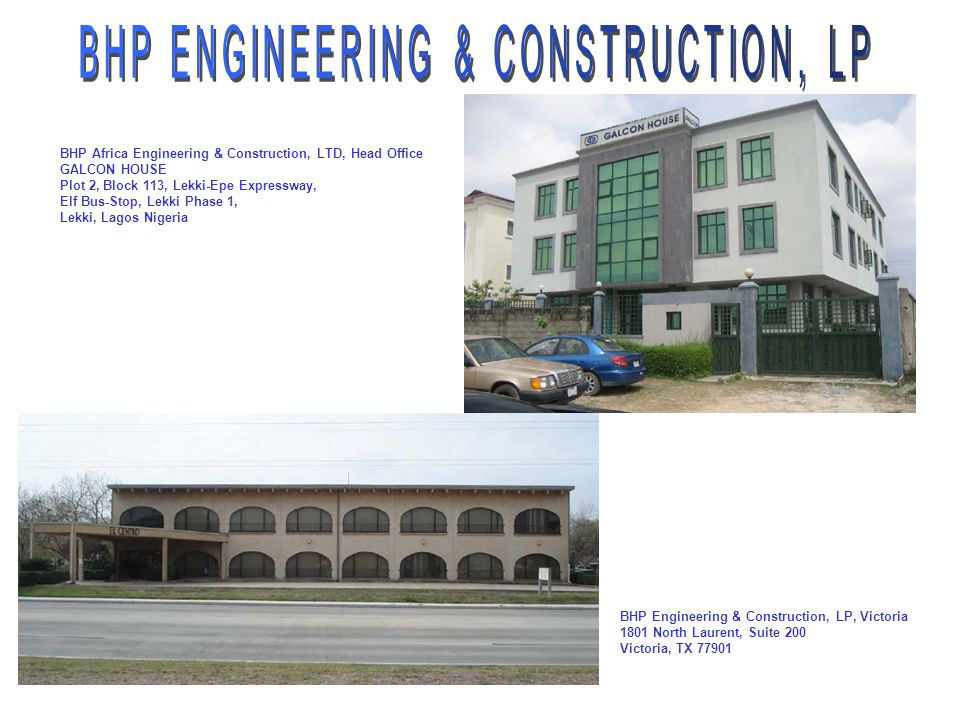 Bhp engineering construction lp usa ppt video for Construction suite online