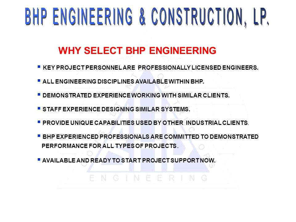 WHY SELECT BHP ENGINEERING