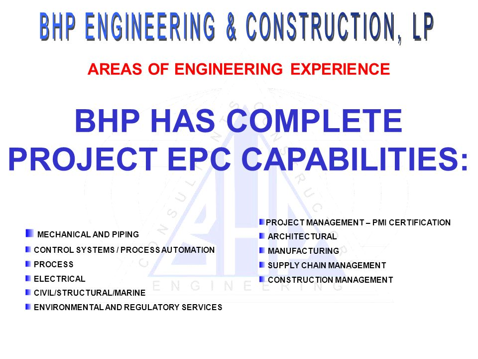 AREAS OF ENGINEERING EXPERIENCE