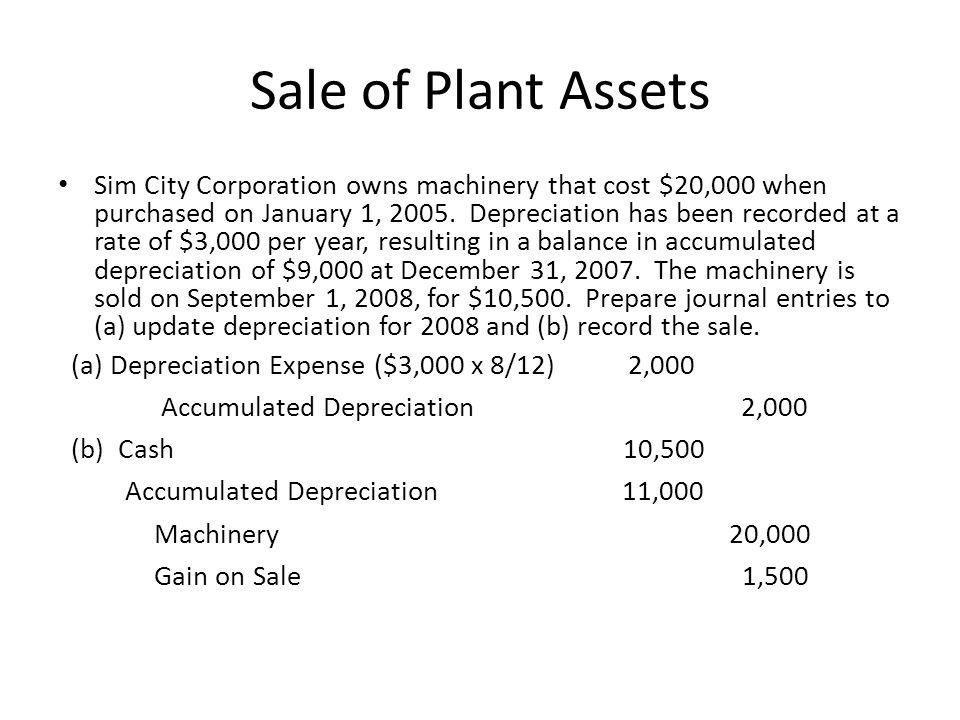 Sale of Plant Assets