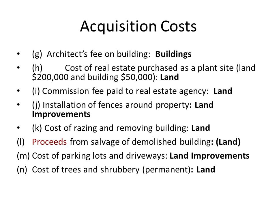 Acquisition Costs (g) Architect's fee on building: Buildings