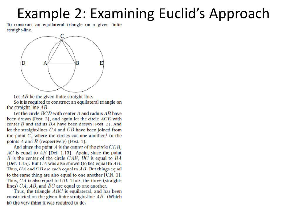 Example 2: Examining Euclid's Approach