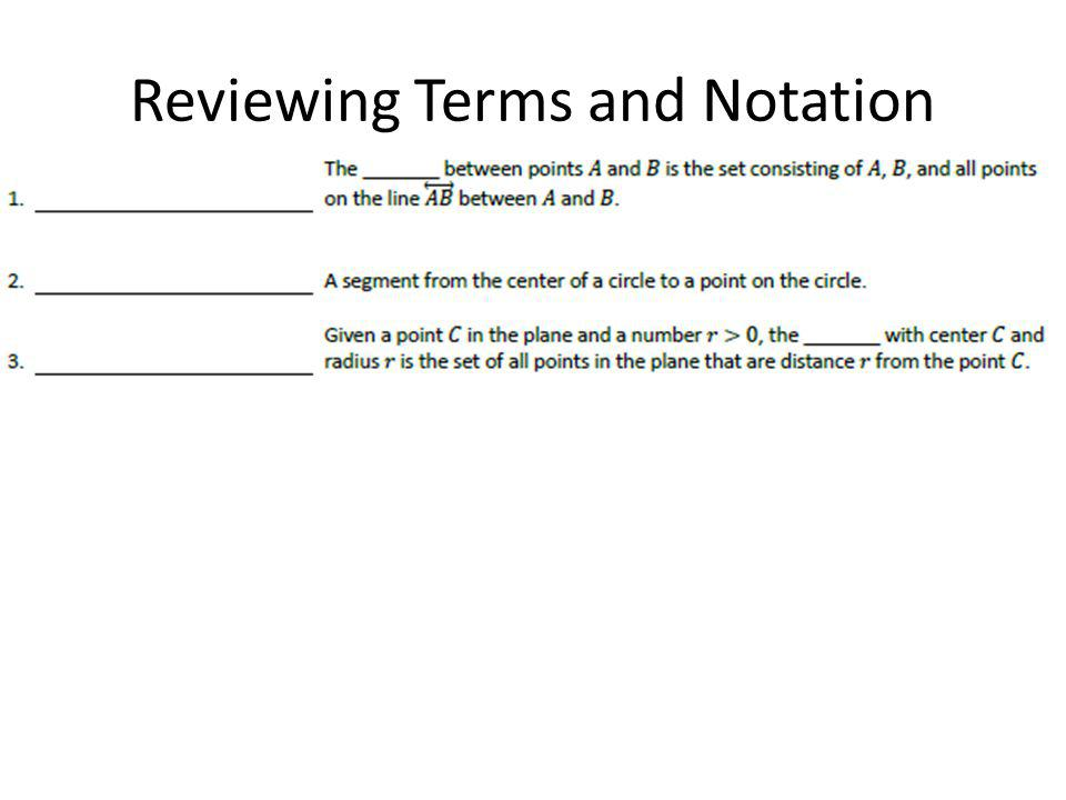 Reviewing Terms and Notation